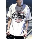 Guys Street Fashion Circle Letter Printed Round Neck Short Sleeve Casual Tee