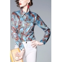 Womens New Stylish Blue Chain Circle Printed Long Sleeve Button Down Fitted Shirt