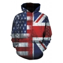 Unique Flag Pattern Basic Long Sleeve Loose Casual Pullover Drawstring Hoodie