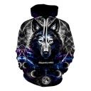 Stylish Moon Galaxy Wolf 3D Print Long Sleeve Sport Loose Grey Hoodie