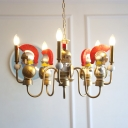 Metal Candle Pendant Light with Solider Six Lights Creative Chandelier in Gold for Dinging Room