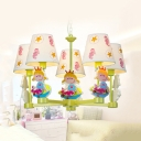 Fabric Tapered Shade Chandelier with Girl/Ship 5 Heads Cute Pendant Lamp in Blue/Green for Kid Bedroom