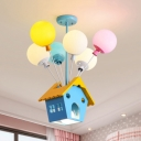 Creative Balloon Chandelier with Wood House 7 Lights Glass Multi-Color Ceiling Pendant for Child Bedroom