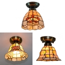 Brass Downlight Ceiling Mount Light 1 Head Tiffany Vintage Art Glass Flush Light for Foyer