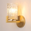 Simple Style Gold Wall Sconce Cylinder Shade 1 Bulb Dimple Crystal Wall Lamp for Dining Room