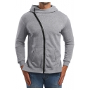 Mens Stylish Simple Plain Light Grey Oblique Zipper Front Slim Fitted Hoodie