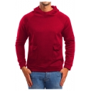 Mens Unique Double Flap Pocket Front Simple Solid Color Long Sleeve Regular Fit Hoodie