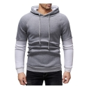 Men's Hot Fashion Patched Long Sleeve Fake Two-Piece Slim Fitted Pullover Drawstring Hoodie