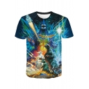 King of the Monsters Blue Galaxy 3D Printed Short Sleeve Regular Fit T-Shirt