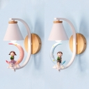 Cone Child Bedroom Wall Light with Little Kids Metal 1 Head Romantic Sconce Light in Blue/Pink