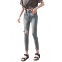 Womens Fashion High Rise Ripped Knee Cut Cropped Blue Slim Fit Jeans
