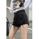 Girls Summer Cool High Rise Beading Embellished Destroyed Ripped Denim Shorts