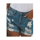 Womens Summer Blue Fashion Destroyed Ripped Rolled Cuff Casual Denim Shorts