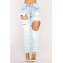 Womens Cool Street Style Light Blue Ripped Hole Straight Fit Denim Jeans