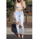 Popular Distressed Ripped Hole Vintage Washed Slim Fitted Jeans