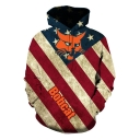 Stylish Bobcat Star Stripe Flag Printed Long Sleeve Casual Loose Pullover Hoodie