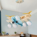Wood Propeller Airplane Pendant Light Nordic Blue Hanging Light with/without Controller for Child Bedroom