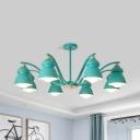 Gray/Green/White Horn Chandelier 3/6/8 Lights Macaron Style Metal Pendant Light for Dining Room