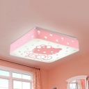 Kitten Third Gear/White Ceiling Light Cartoon Acrylic LED Flush Light with Crystal Bead in Blue/Pink for Kid Bedroom