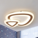 Modern Style Fish Flushmount Light Acrylic White LED Ceiling Lamp in Warm Yellow/White for Study Room