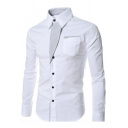 Mens Fashion Striped Patched One Pocket Patched Long Sleeve Button Front Slim Dress Shirt
