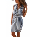 Womens Trendy Vertical Striped Printed Sleeveless Bow-Tied Waist Button Down Mini Casual Sheath Shirt Dress