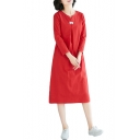 Womens Vintage Simple Solid Color Long Sleeve Midi Swing Dress