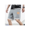 Summer Fashion Contrast Trim Letter Printed Drawstring Waist Casual Athletic Shorts