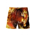 Cool Fashion 3D Fire Tiger Printed Drawstring Waist Yellow Summer Beach Swim Trunks