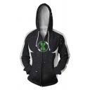 Stylish Comic Cosplay Costume 3D Printed Long Sleeve Zip Up Black Hoodie