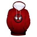 Cool Spider Eyes Printed Long Sleeve Red Sport Loose Pullover Hoodie