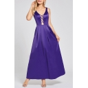Hot Fashion Sexy V-Neck Cutout Front Sleeveless Maxi Swing Evening Gown Dress