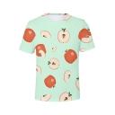 Summer Hot Popular 3D Fruit Pattern Round Neck Short Sleeve Casual Tee