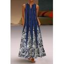 Womens Designer Boutique Vintage Floral Printed V-Neck Sleeveless Crinkled Maxi Blue Swing Dress with Pocket