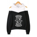 Trendy South Side Snake Printed Cold Shoulder Long Sleeve Loose Pullover Hoodie