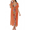 Womens Summer Holiday Ethnic Style Crochet Patched V-Neck Short Sleeve Maxi Beach Kaftan Dress