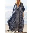 Summer Stylish Boho Style Blue Striped Print V-Neck Maxi Holiday Beach Bikini Cover Up Kaftan Dress