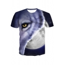 Summer Cool 3D Wolf Printed Round Neck Short Sleeve T-Shirt