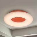 Lovely Donut LED Ceiling Lamp Acrylic Warm/White Lighting Flush Ceiling Light in Blue/Orange/Yellow for Nursing Room