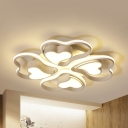 Loving Heart Study Room Ceiling Fixture Acrylic 3/4 Heads Modern LED Flush Mount Light with Warm/White Lighting