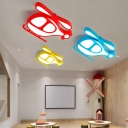 Acrylic Helicopter LED Flush Mount Light Kindergarten Lovely Warm/White Lighting Ceiling Light in Blue/Red/Yellow