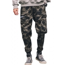 Street Style Camo Letter Diagonal stripes Printed Zipped Multi-pocket Army Green Cotton Casual Cargo Pants