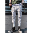 Trendy Multi-pocket Solid Color Elastic Cuff Men's Fashion Cotton Cargo Pants