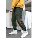 Stylish Letter Printed Flap Pocket Men's Cotton Casual Sport Cargo Pants