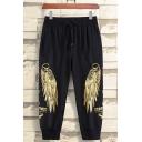 Men's Cool Fashion Eagle Wings Letter Printed Drawstring Waist Black Cotton Sports Sweatpants