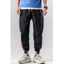 Summer Trendy Colorblock Letter Printed Drawstring Waist Loose Fit Men's Casual Track Pants