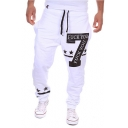 Hot Fashion Letter 7 Stars Printed Drawstring Waist Casual Sport Cotton Sweatpants for Men