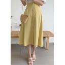 Womens Summer Retro Simple Plain High Rise Button Down Midi A-Line Skirt