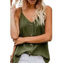 Womens Trendy Simple Plain V-Neck Button Down Loose Fit Cami Top
