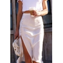 Summer Hot Popular Basic Simple Plain Button Embellished Split Side Midi Sheath Skirt